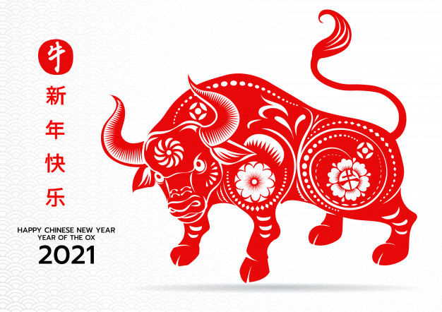 Happy Chinese New Year 2021 Year Of The Ox Chinese Zodiac Sig Chinese New Year Card Year Of The Cow Chinese New Year Design