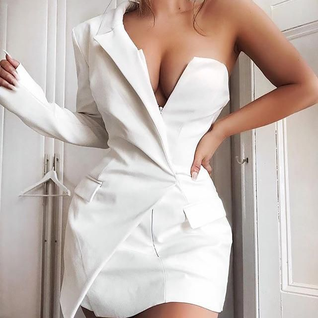 One Shoulder Sexy Backless Blazer Dress