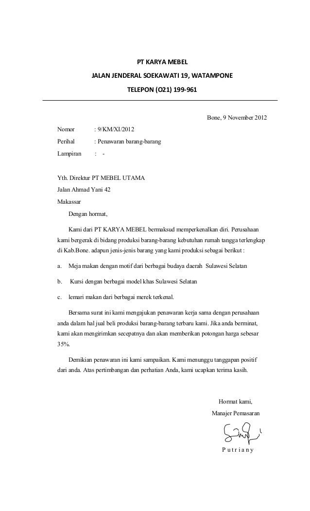 Contoh Menulis Surat Niaga Menulis Surat Bahasa