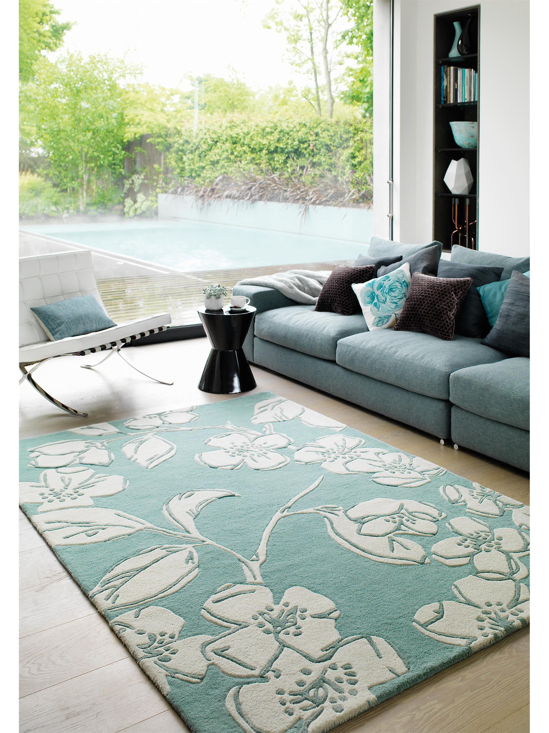 Wollteppich matrix devore blau pastell teppiche benuta for Wohnzimmer teppiche gunstig