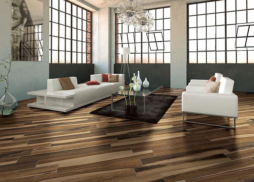 36 X 6 Elegant Wood Brazilian Pecan Porcelain Tile Fullscreen
