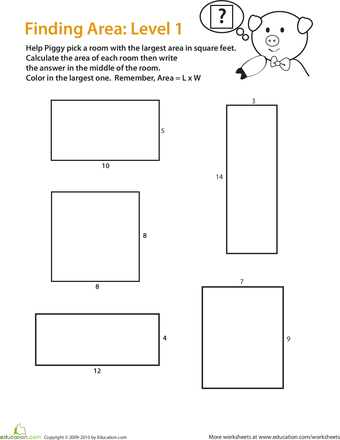 Find The Area Of A Rectangle Easy Worksheet Education Com Area Worksheets Geometry Lesson Plans Education Math