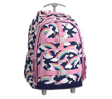 Rolling Backpack Mackenzie Navy Rainbow Unicorn Collection