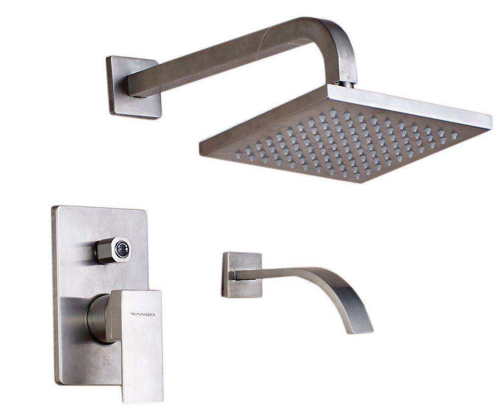 Wangel Brushed Nickel Bathroom Wall-mounted Stainless Steel Square ...