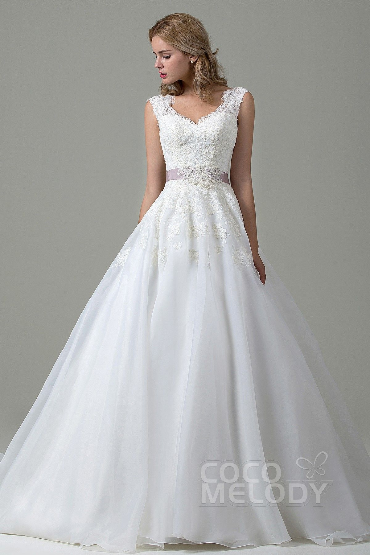 Open back wedding dresses lace  Classic ALine VNeck Natural Court Train Lace and Organza Ivory