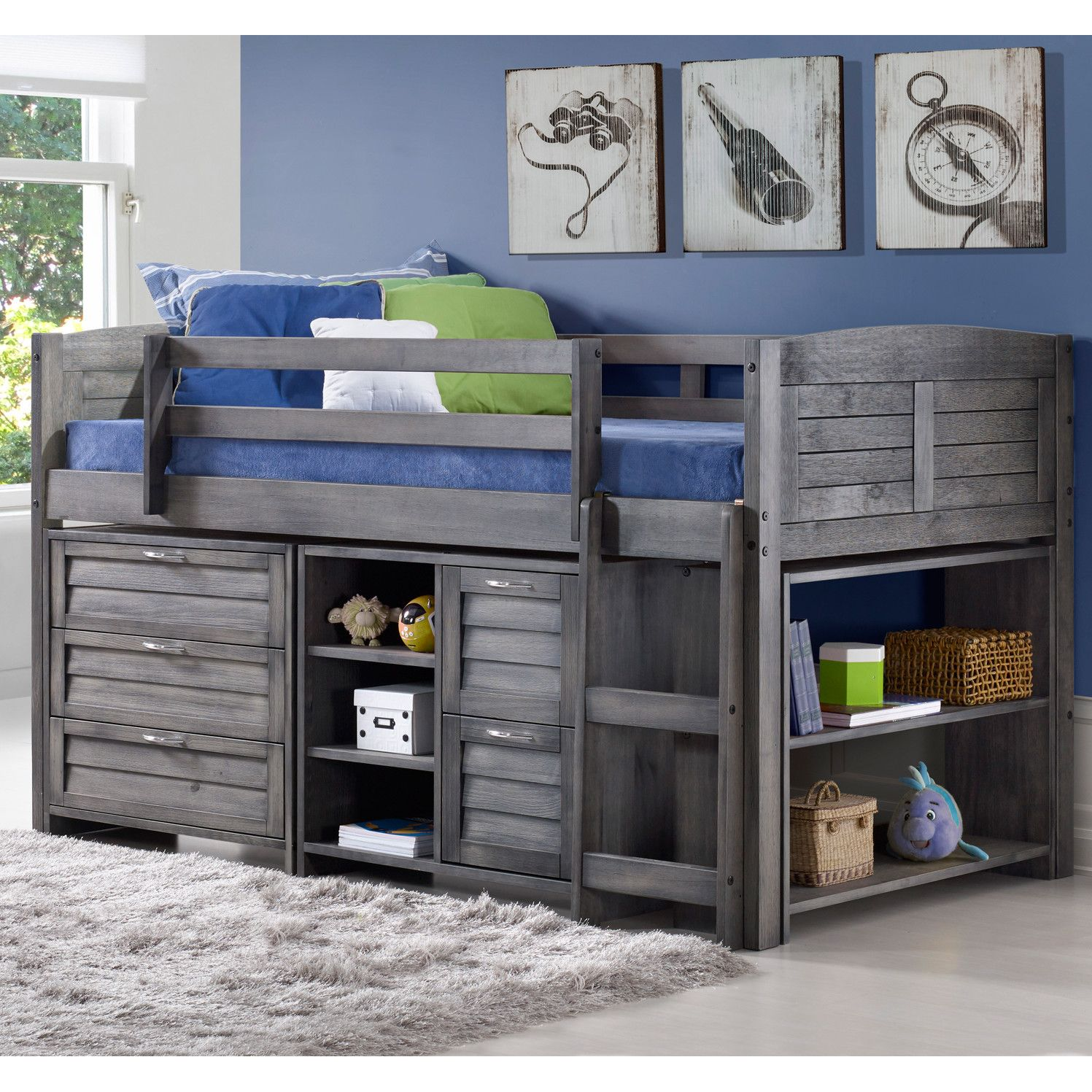 Loft bed storage ideas  Donco Kids Louver Twin Low Loft Slat Bed with Bookcase and Chest