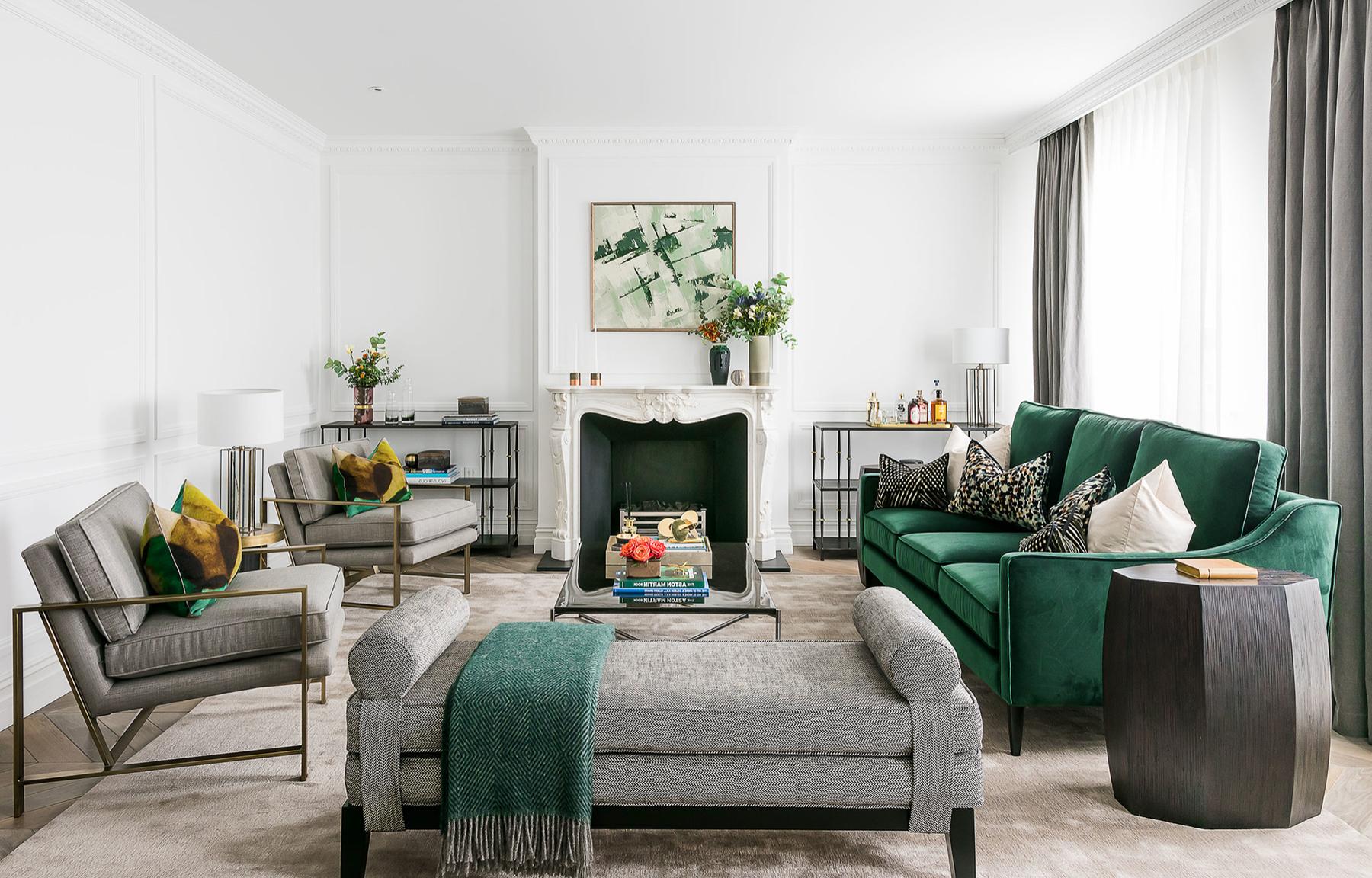 Beautiful Art Deco Style Green Living Room Decor With Green Velvet Transitional Sofa Green Sofa Living Green Sofa Living Room Green Living Room Decor