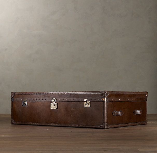 Restoration Hardware Richards Trunk Coffee Table: Mayfair Steamer Trunk Coffee Table - Vintage Cigar