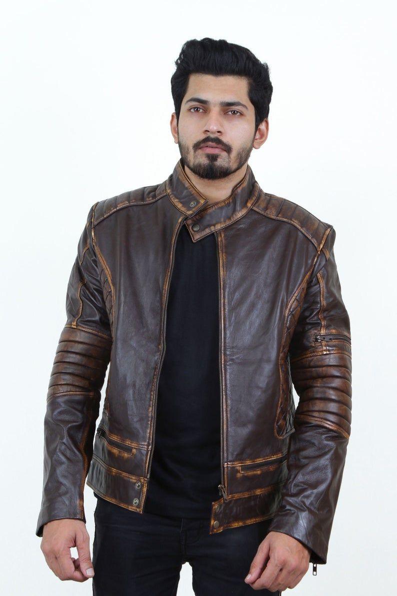 Jackherald Mens Choco Prime Leather Jacket|Handmade|Customized|Handcrafted|Premium Quality|Sheep Leather|Lambskin|Black|Biker Jacket|Fashion