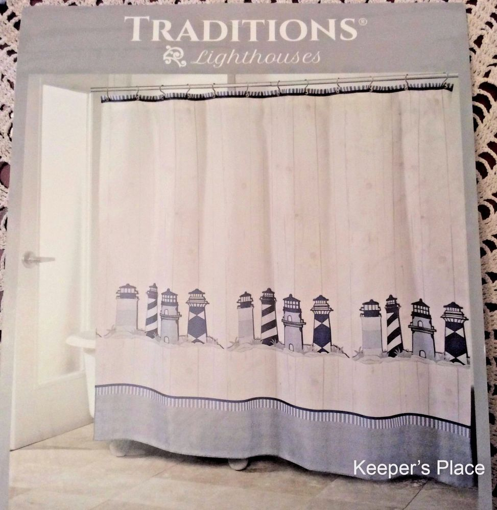 Traditions Lighthouses Fabric Shower Curtain Nautical Antique Blue
