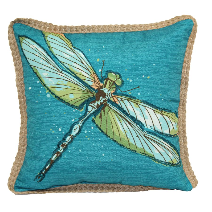 Allen Roth Dragonfly Teal Outdoor Decorative Pillow Lowes Com