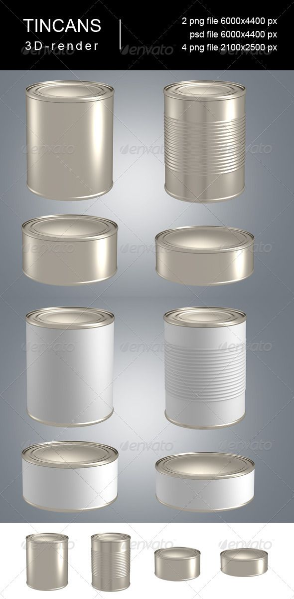 3d-render of 4 types of tincans with labels and without. Include isolated objects on transparent background.