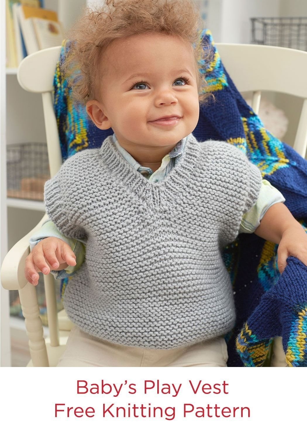 Free knitting pattern baby s play vest in red heart yarn baby free knitting pattern baby s play vest in red heart yarn baby hugs medium bankloansurffo Choice Image