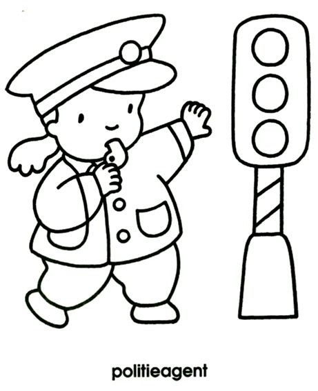 kleurplaat politieagent thema kleurplaten politie agenten