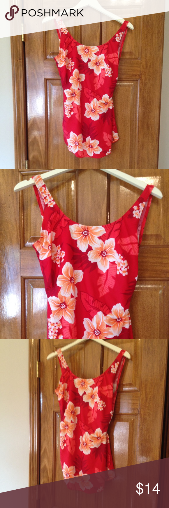 d76c9a1063 Shore Shapes Red Floral One Piece Bathing Suit 14 Shore Shapes Red Floral One  Piece Bathing Suit Swim Suit Size 14 Skirted Front Slight Gathering On side  ...