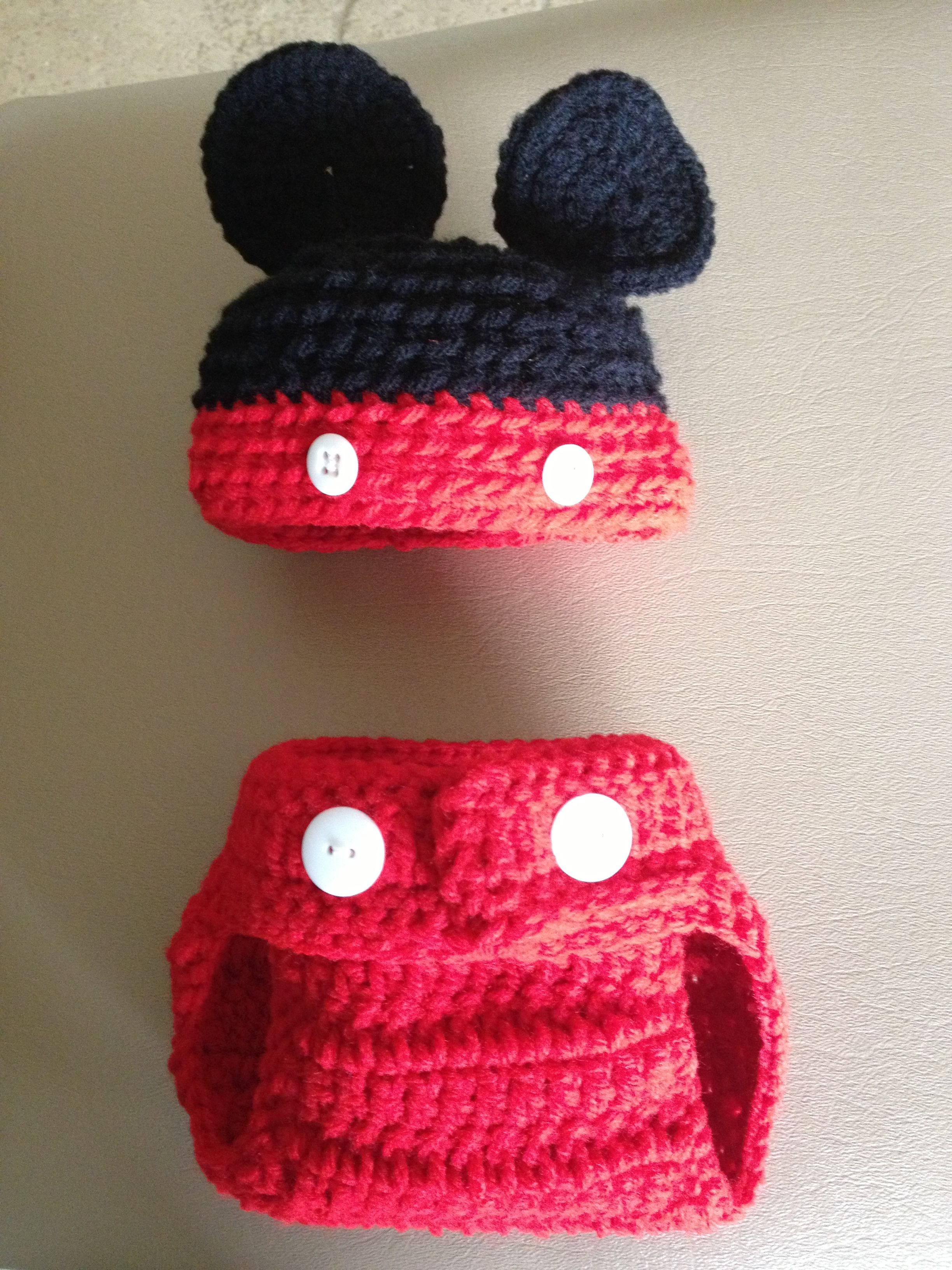 Mickey Mouse beanie and diaper cover | animal beanies | Pinterest