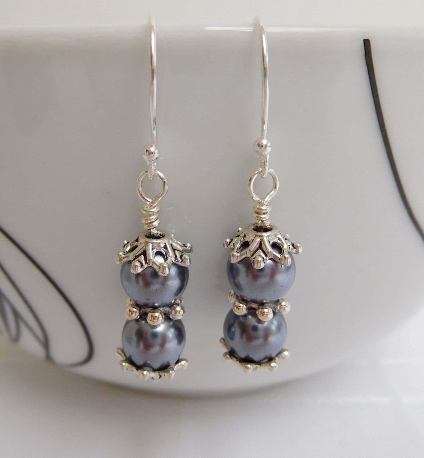 Silver Grey Pearl Bead Drop Earrings Dangle Gift For Her By Wendymcreations On Etsy