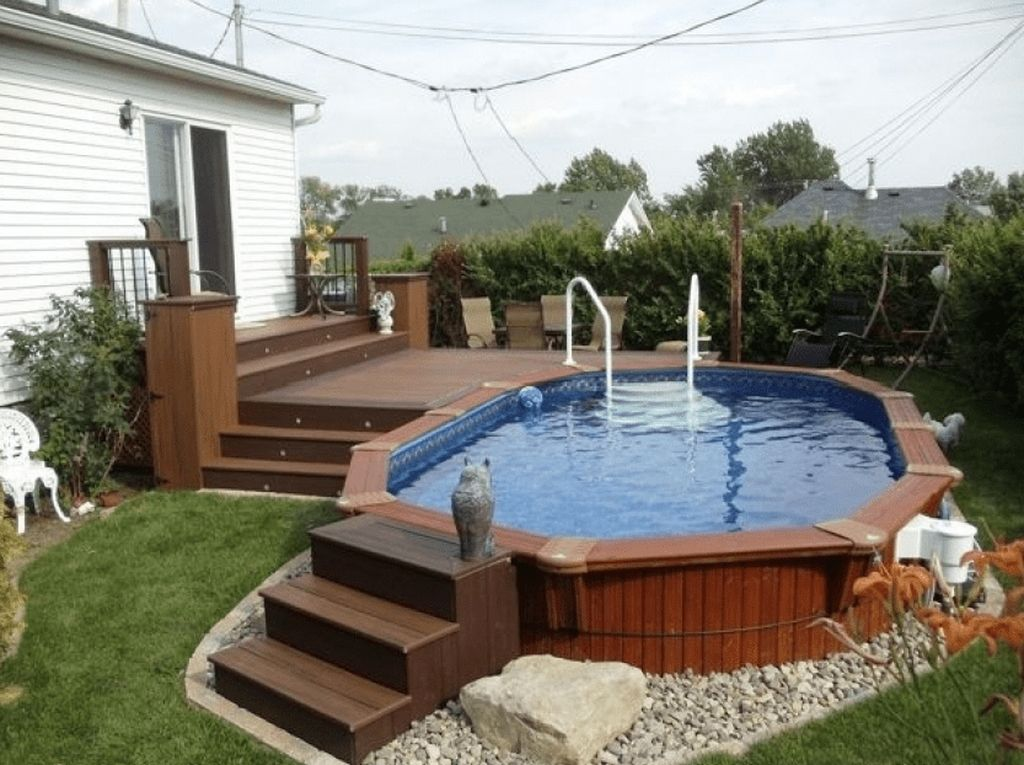 30 Newest Pool Deck Design Ideas For Your Backyard Swimming Pool Decks Pool Deck Plans Above Ground Pool Landscaping