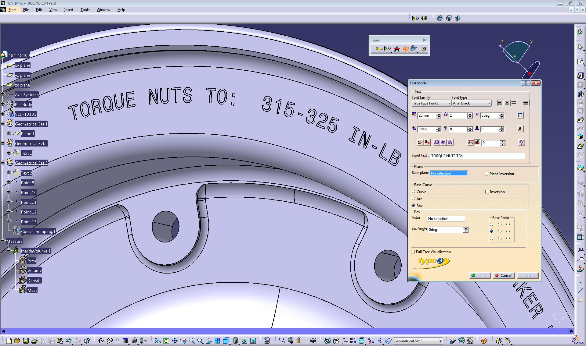 type3 caa v5 environment in catia v5 showing a text on a curve rh pinterest com Catia Ojeda Catia Icon