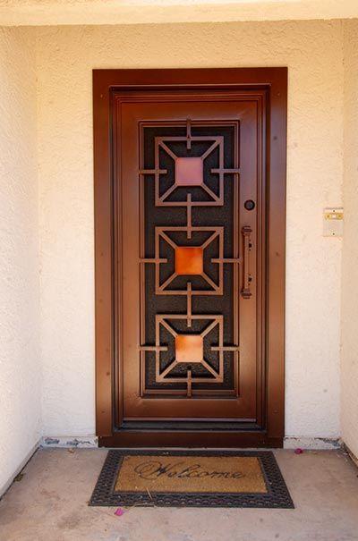 Resultado de imagen de puertas entrada principal con cristal y reja - puertas de entrada