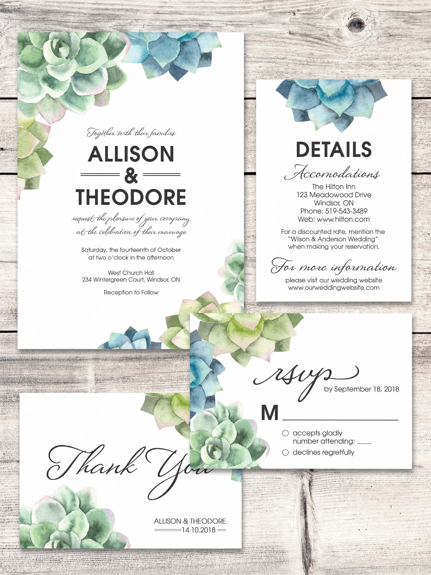 Printable Wedding Invitation with Succulents, Succulent