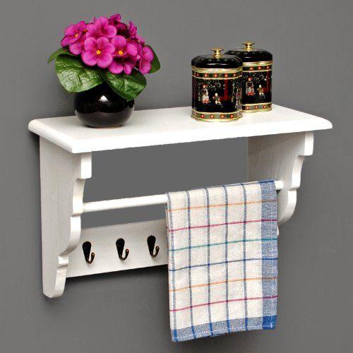 Küchenregal Küchenboard mit Handtuchhalter Landhaus Stil Wand ...
