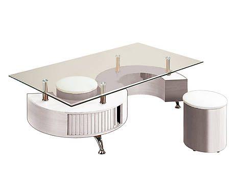 Tavolino con 2 pouf in legno e vetro - 130x44x70 cm | Film ...