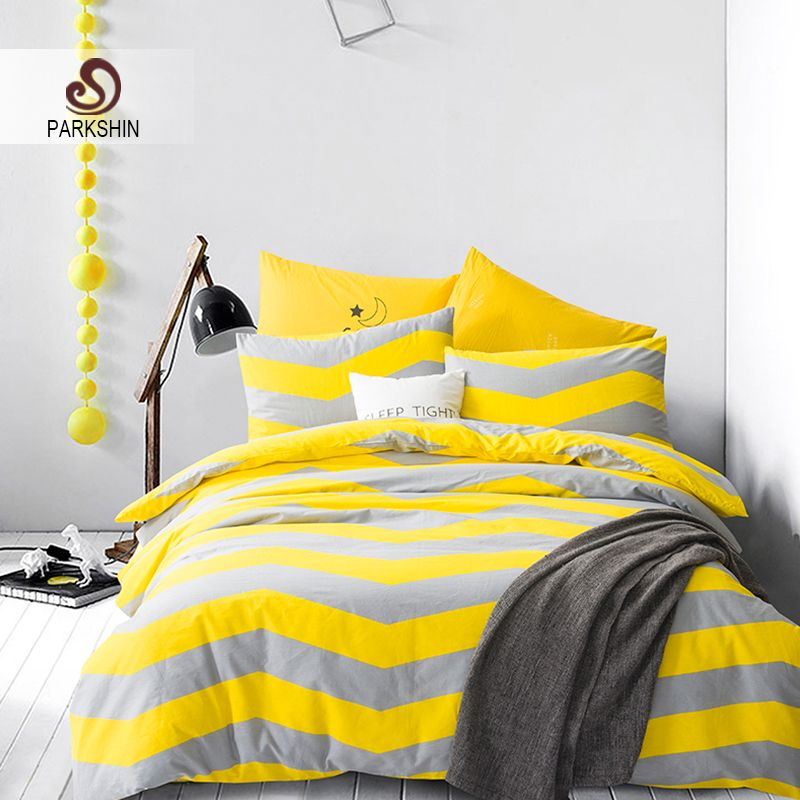 Home Tips Parkshin Nordic Style Bedding Sets 100 Cotton Duvet Cover Set Yellow Gray Striped Bed Sheet Bedding Sets Striped Bed Sheets 100 Cotton Duvet Covers