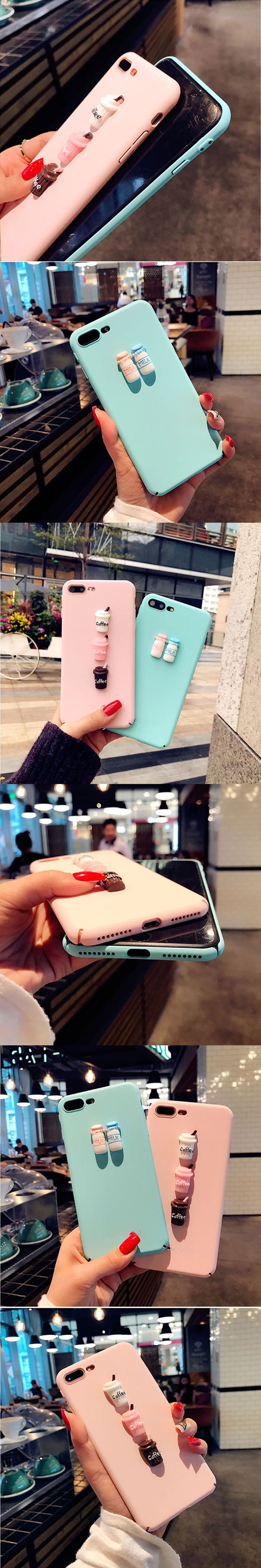 3D cartoon Pink Milk coffee matte skin hard PC Phone Cases for iphone 5 5S 6 6s plus 7 7 8 plus Back Cover INS Hot Korean Style