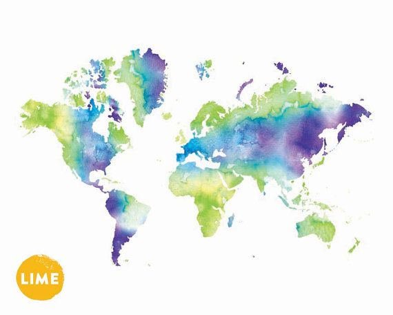 Awesome Watercolor World Map Print. Giclee Print. Wanderlust Globe. Kids Room  Poster Apartment Wall