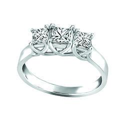 Three stone 14k gold and diamond ring 100tw Canadian diamond Fire