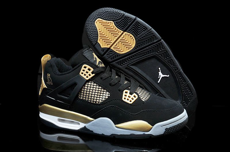 "Mens Air Jordan 4 Retro ""OVO"" Black Nubuck Gold Online  80a5a4614"