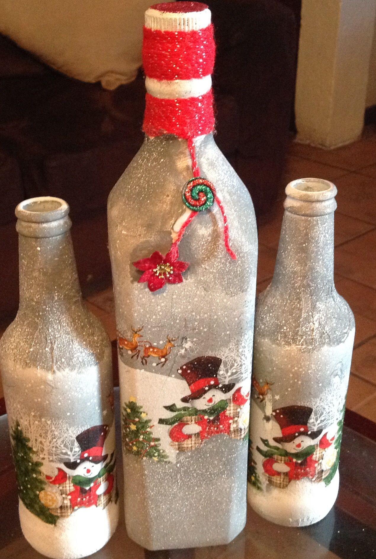 Pin de ruth urquizo en navidad diy navidad botellas for Botellas de vidrio decoradas para navidad
