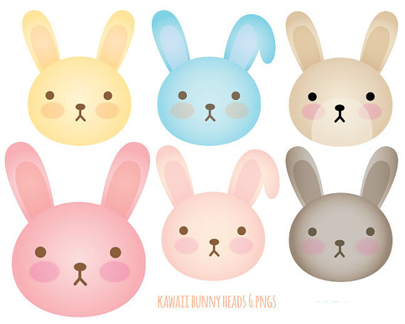 Easter bunny kawaii. Bunnies clip art heads
