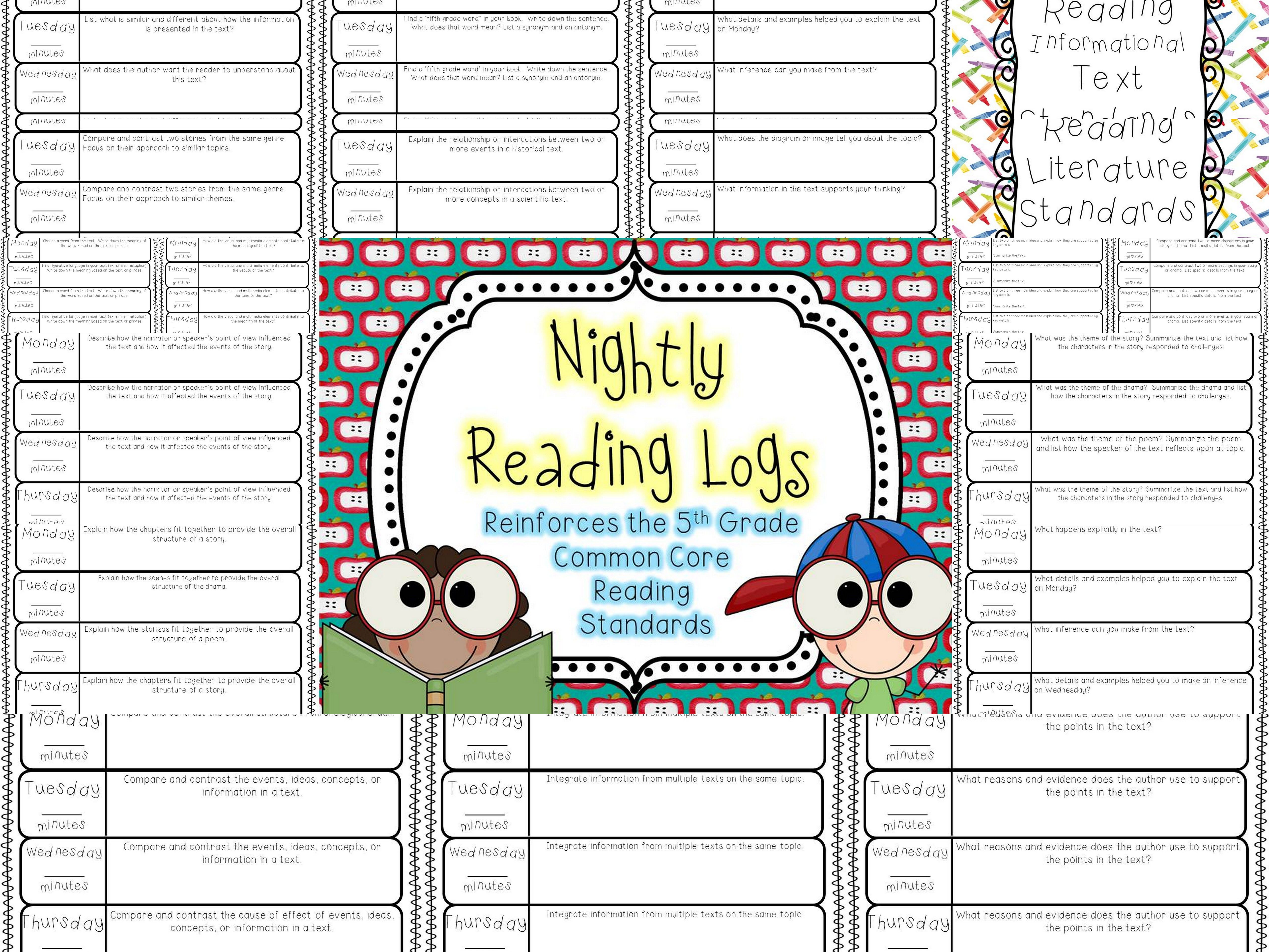 Nightly Reading Logs For Every 5th Grade Common Core