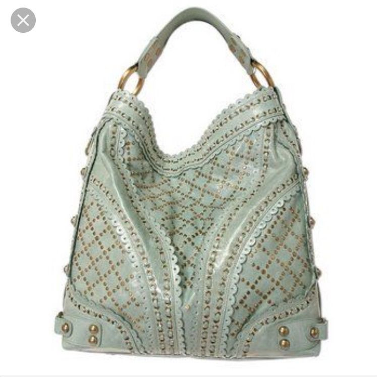 86f4f7c50a Isabella Fiore Mint Green Studded Hobo Bag | Products | Bags, Bag ...