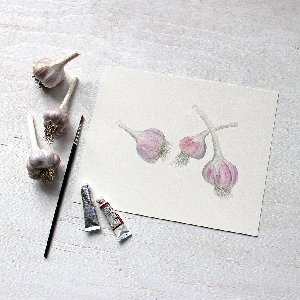 Garlic Print Watercolor Paintings Paper Texture Art