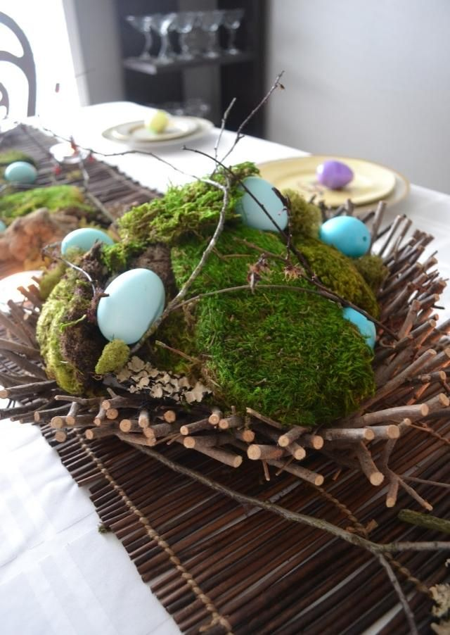 Moos Blaue Eier Zweige Ostern Pinterest Ostern Diy Ostern