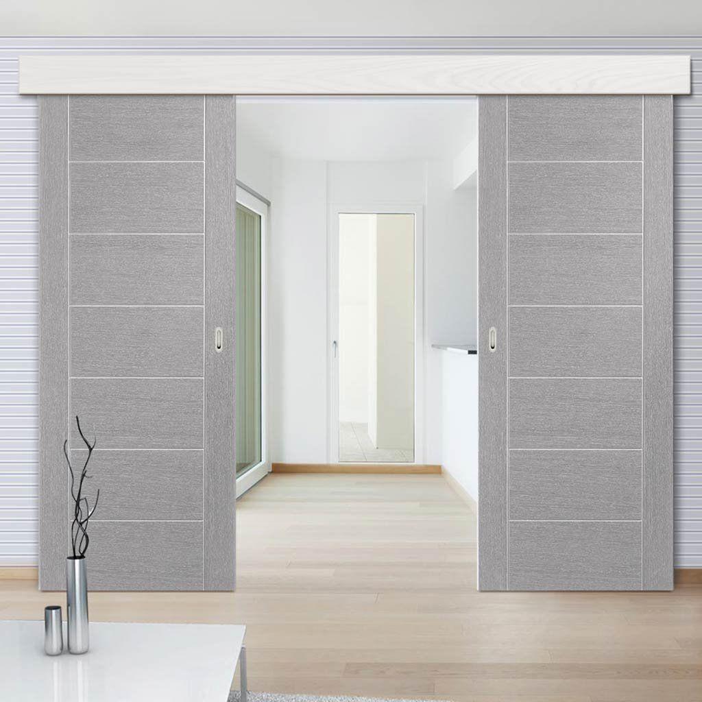 Thruslide Surface Palermo Light Grey Flush Sliding Double Door And Track Kit Prefinished Lifestyle Image Slidingdoors Moder Porte Interne Interni Idee