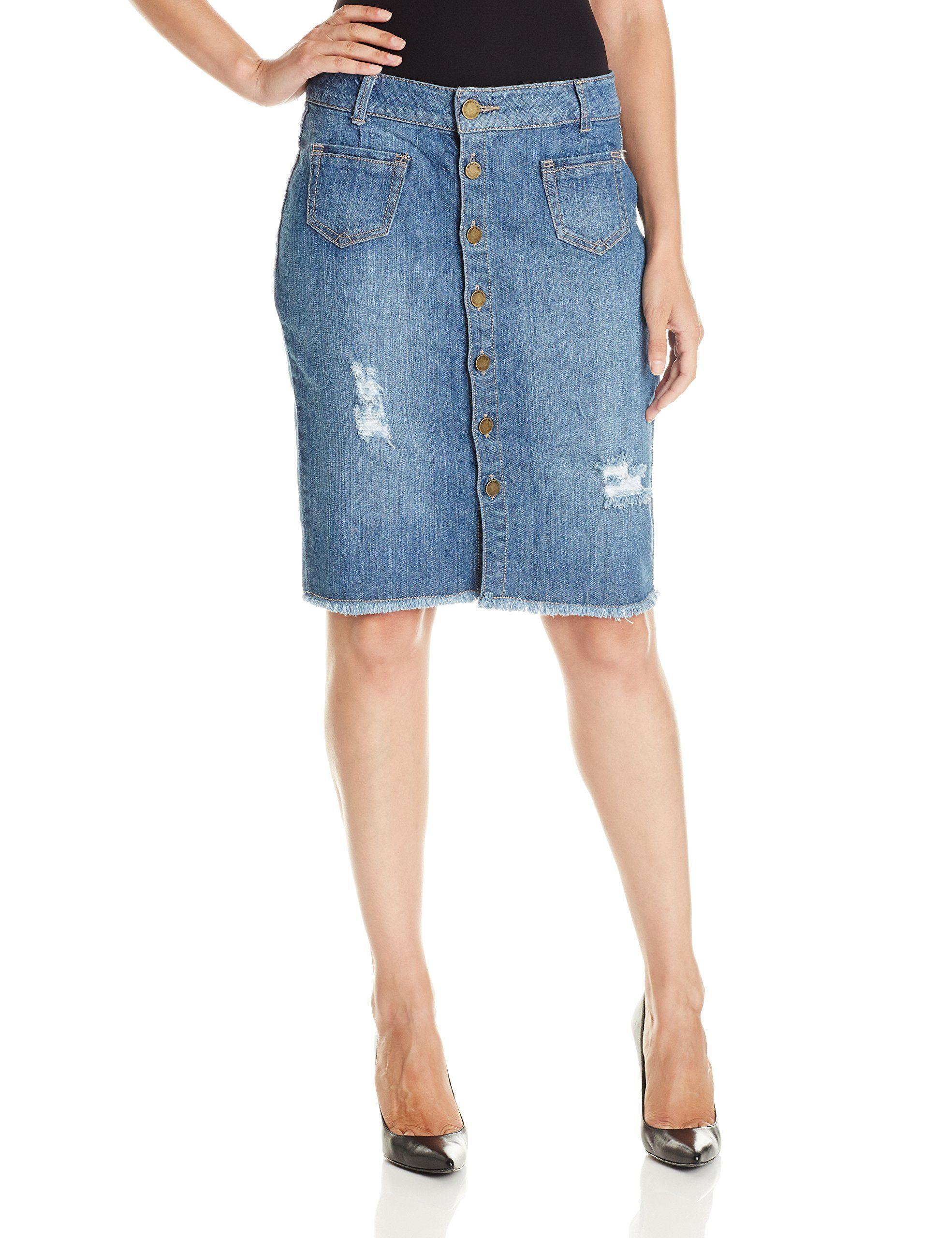87612ce0ce Democracy Women's 22.5 Inch Destructed Button Down Denim Skirt, Medium  Blue, 8. Knee