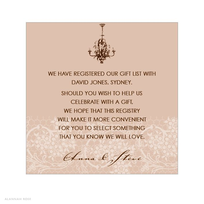 Country Invitation Wording Samples Chantilly Chandelier Latte Gift Registry Card Or Wishing Well