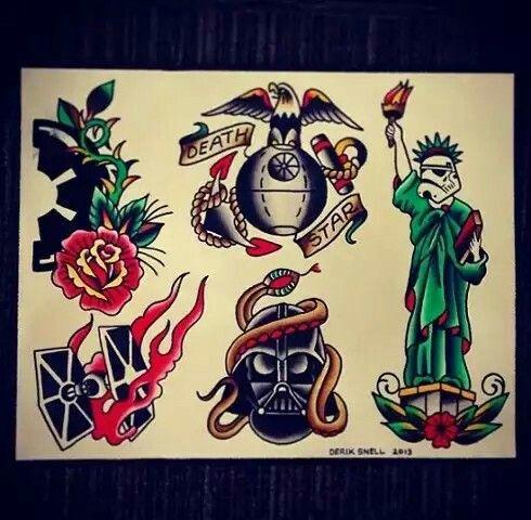 04f7bc001 Sailor Jerry Style Star Wars USMC EGA Tattoo | Tattoos | Star wars ...