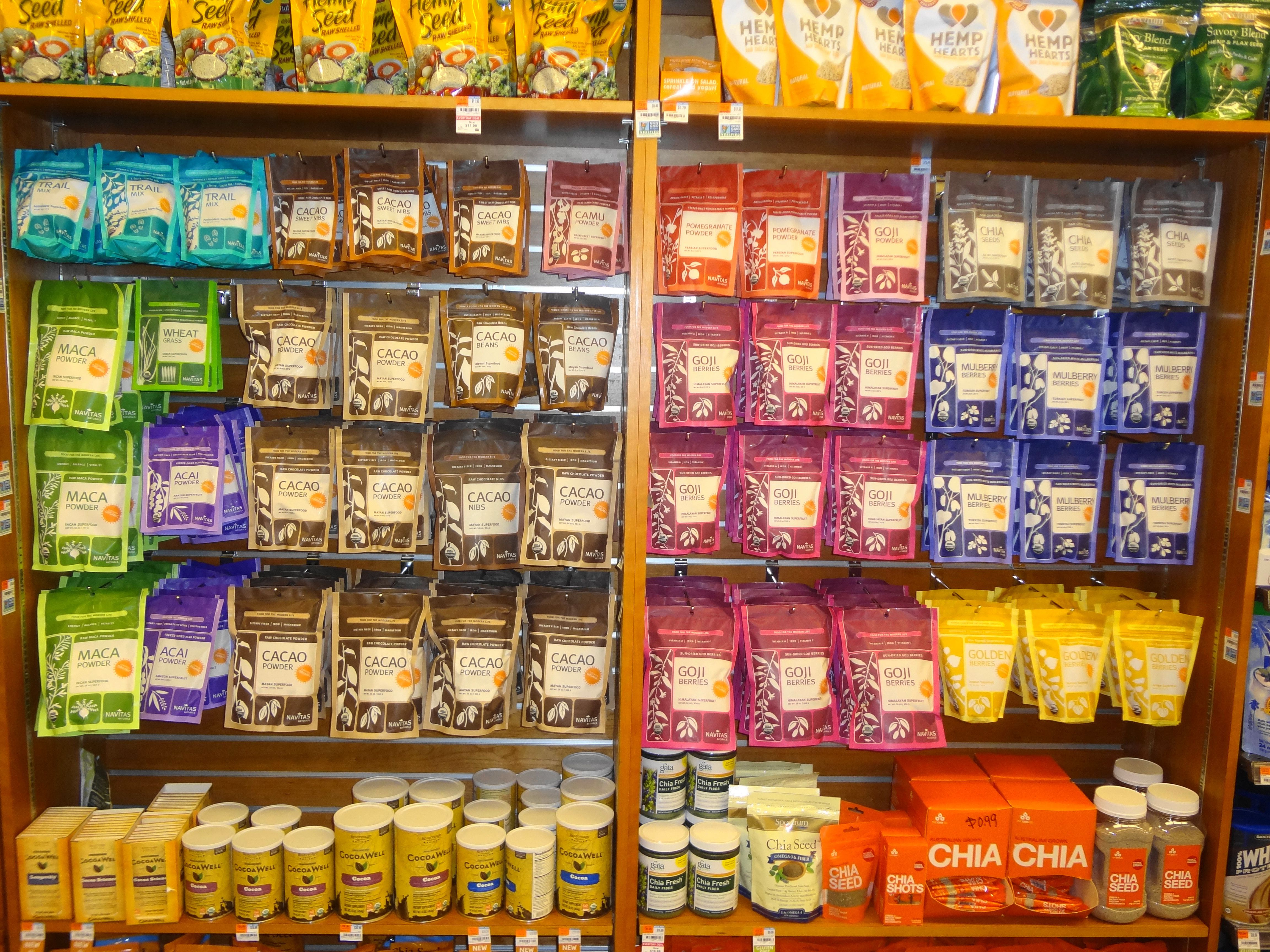 The shelves are stocked with superfoods at whole foods