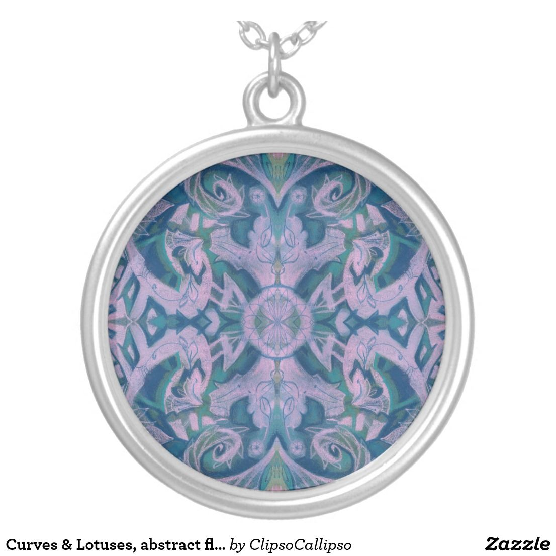 Curves & Lotuses, abstract floral, lavender & blue Silver Plated Necklace