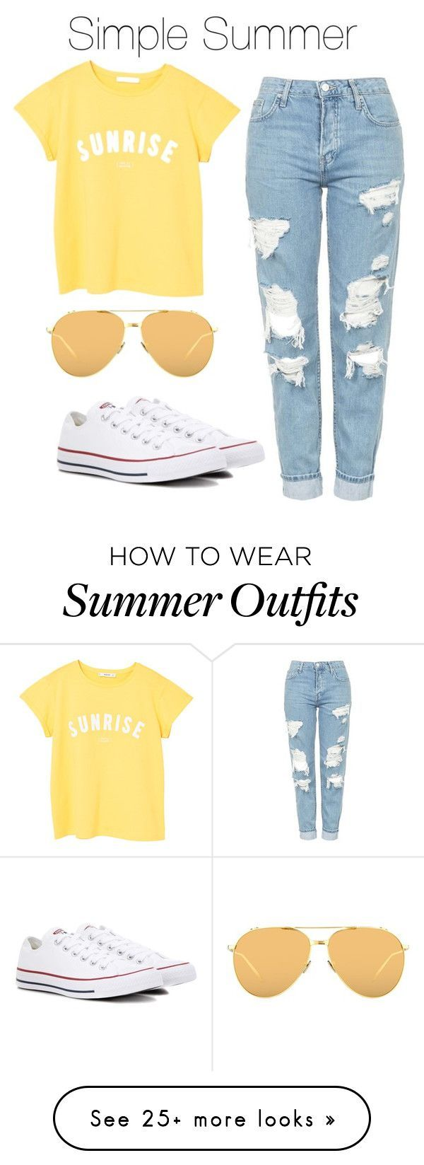 Simple Summer Outfit By Bekahlaw04 On Polyvore Featuring Topshop Mango Converse And Linda Farrow