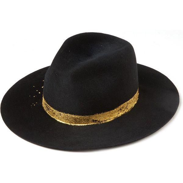 fb0f02eaecac5 Eugenia Kim Black Georgina Gold Splatter Fedora Hat ( 420) ❤ liked on  Polyvore featuring accessories
