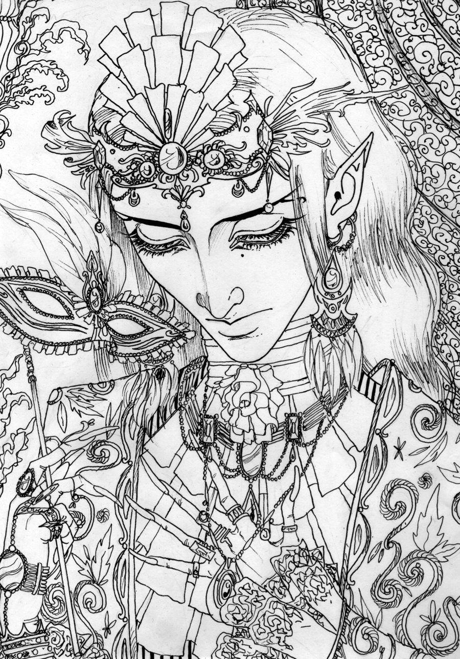 Masquerade lineart by Master-Of-Fear.deviantart.com on @deviantART