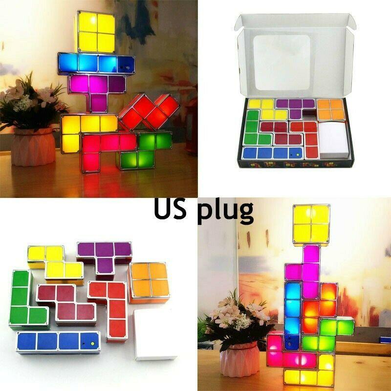 Romantic Diy Tetris Puzzle Led Night Light Colorful Constructible Block Night Led Night Light Night Light Lamp Decor