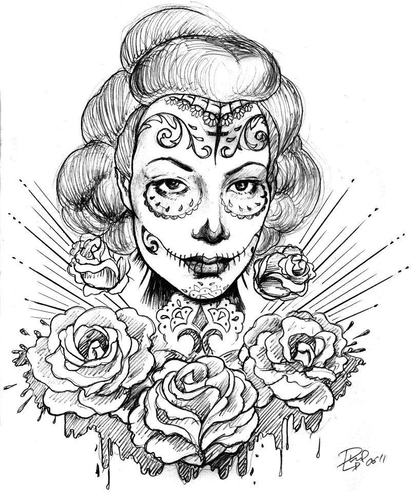 Chicano Art Coloring Pages Pin van Miranda C op Sugar skulls Kleurplaten