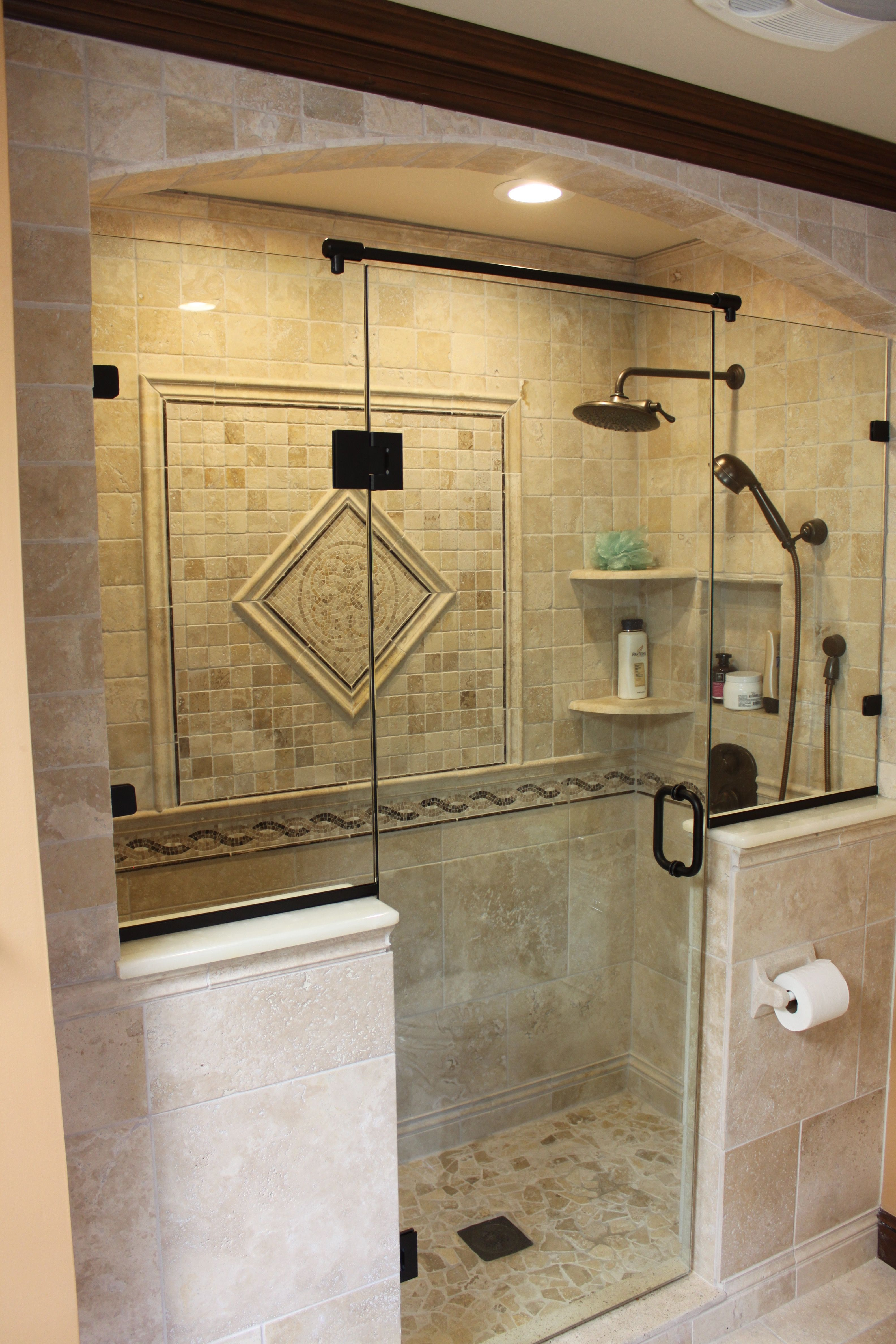 Custom shower with tile archway | Bathrooms and Bathroom ...